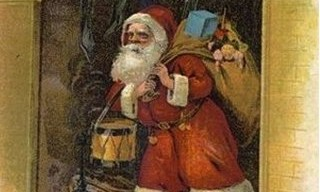 St. Nicholas emerging from the fireplace
