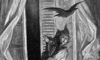 the raven's entrance by Gustave Dore