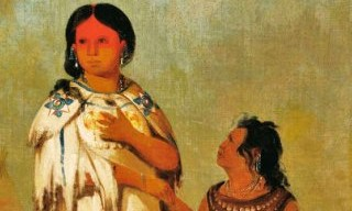 Detail of Assiniboin Woman and Child by Catlin