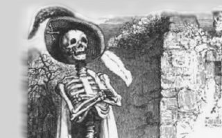 Detail, illustration, le mort et le bucheron